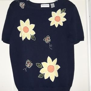 DARLING DAISIES RETRO APPLIQUE SWEATER M